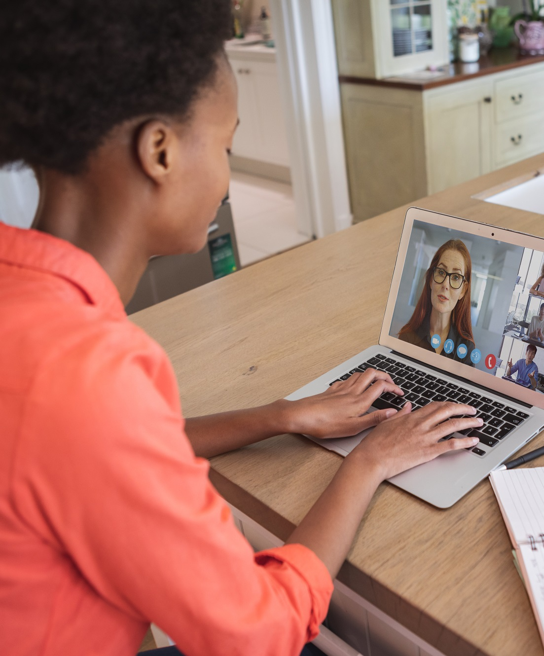 woman having a video meeting on a laptop